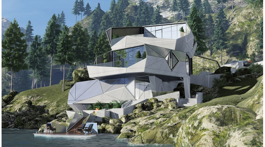 Modern House Bureau Releases Cyber House With Fully-Integrated Protection System On A Rocky Slope